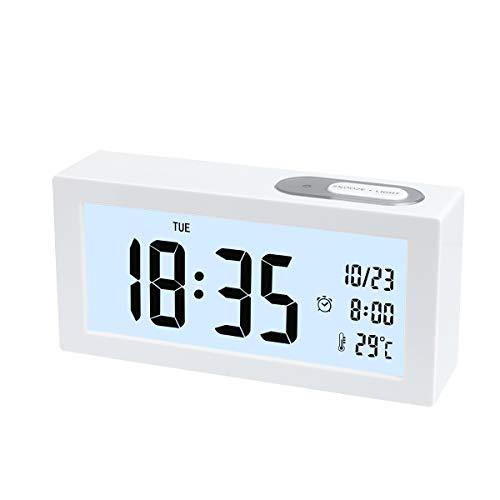 Digital Wecker, Digital Wecker Uhr mit Großer LCD Display Datum und Temperatur Anzeige mit Snooze und Nachtlicht Funktion für Kinder, Zuhause, Schlafzimmer (Weiß)