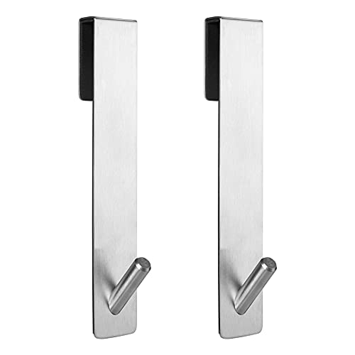 Simtive Extended Shower Door Hooks (7-Inch), Over Door Hooks for Bathroom Frameless Glass Shower Door, Towel Hooks, 2-Pack, Silver