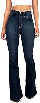 Vibrant Women s Juniors Flared Jeans 15 Super Dark Denim