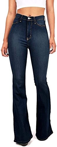 Vibrant Women's Juniors Bell Bottom High Waist Fitted Denim Jeans,Super Dark Denim,5