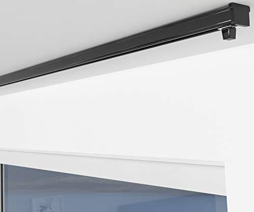 ALOHA Gardinenschiene aus Aluminium Vorhangschienen, Deckenbefestigung 1-läufig für Schiebevorhänge, Vorhänge (ITU / 1-läufig / 120cm / nur Gardinenschiene / Schwarz)