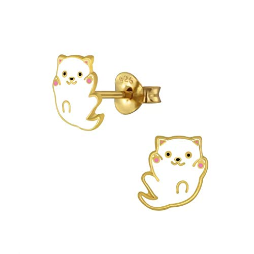 Laimons - Orecchini per bambine, a forma di gatto, in argento sterling 925, placcati in oro, 8 mm, colori bianco e rosa
