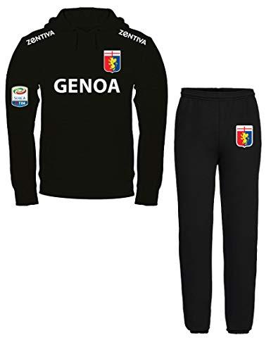 Nerd Generations Felpa con Cappuccio Sportiva Calcio SERIEA A Genoa Felpa Nera Pantalone Nero (XL)