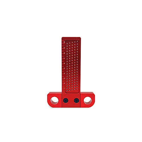 CarAngels 木工 T型スコヤ 直接マーキングできる定規 直角型 ゲージ 測定 高精度 1mm 穴間隔 アルミ製 大工ケガキ工具 (T-100)