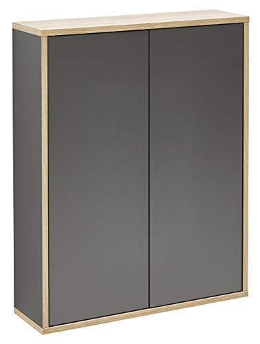 FACKELMANN Doppel-Hängeschrank Finn/Badschrank mit Push-to-Open/Maße (B x H x T): ca. 60 x 75 x 20,5 cm/Schrank fürs Bad mit 2 Türen/Korpus: Schwarz/Front: Schwarz/Rahmendekor: Braun hell