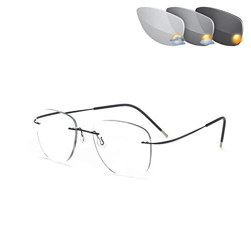 CAOXN Ultraleichte Titan Lesebrille Randlose Pilot Sonnenbrille Für Herren Und Damen Mit Photochromem Übergang Uv400 Presbyopic Eyeglasses Readers,Black+0