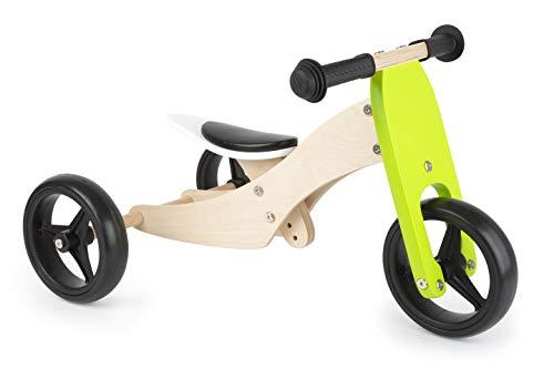 Small Foot 11255 Lauflern-Dreirad Trike 2 in 1 aus Holz, mit verstellbarem Sitz und Gummibereifung Spielzeug, Mehrfarbig