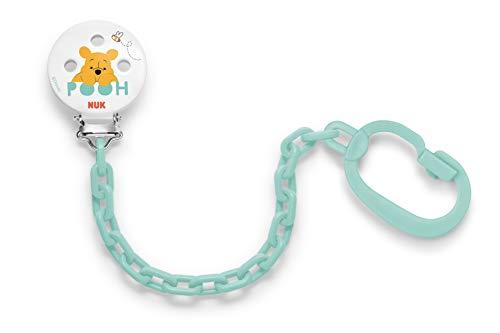 NUK 10256256 Disney Winnie Saugerkette mit Clip zur sicheren Befestigung des Schnullers an Baby's Kleidung, 1 Stück, Farbe nicht frei wählbar