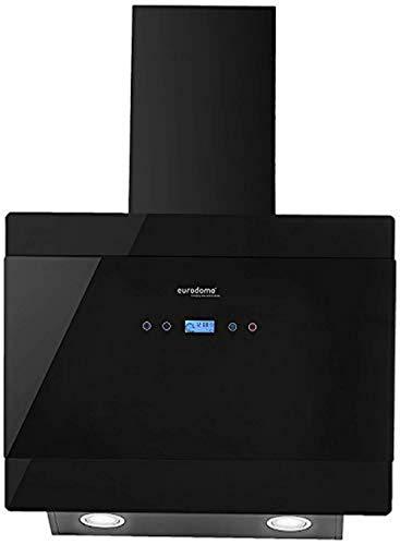 Eurodomo 60 cm 1050 m³/hr angular Kitchen Chimney (Hood Gem TC BK 60, Cassette Filter, Touch Control, Black)