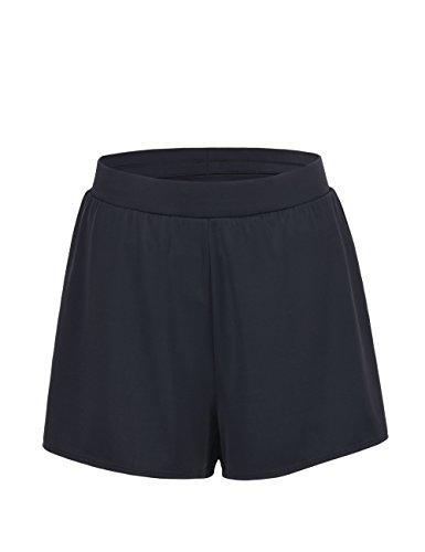 Hilor Women's Wide Band Boy Leg Bikini Bottom Swimsuit Bottom 18 Black