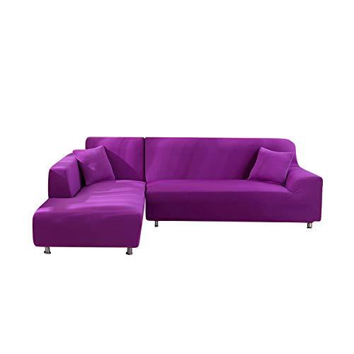 BESTER 2-teiliges Sofa-Set, L-Form, Sofa-Bezug, Sessel, Liege, Sofa, Spandex, Stretch, Bezüge für Ecksofa, -L-Candy Purple-Pillowcase x 2