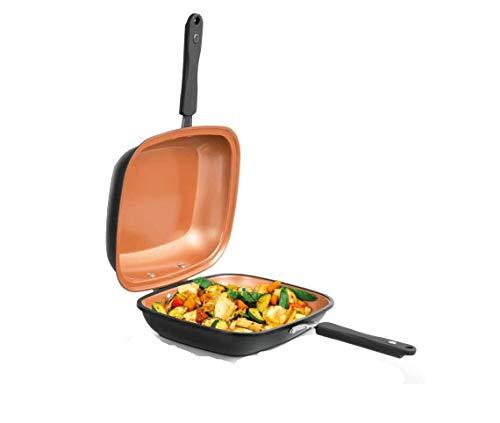 Mediashop Livington Black Doubletta | Wendepfanne | Kochen, Braten, Backen, Grillen | ergonomischer Griff | geeignet für alle Herdarten | Non-Stick-Beschichtung