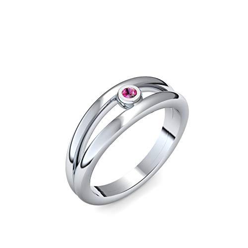 Silber Ring Rubin 925 + inkl. Luxusetui + Rubin Ring Silber Rubinring Silber (Silber 925) - Glamourise Amoonic Schmuck Größe 58 (18.5) AM141 SS925RUFA58