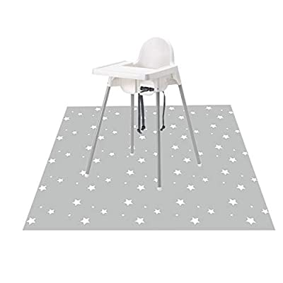 "Splat Mat for Under High Chair/Arts/Crafts, Wo Baby Washable Spill Mat Anti-Slip Floor Splash Mat, Portable Play Mat and Table Cloth (Star, 51"")"