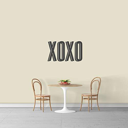 MISC Decal XOXO Wall Decor Sign Decoration Hugs & Kisses Romantic Love Art Traditional Dark Grey, Vinyl