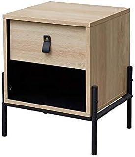 Workshop Table de Chevet Enfant - 1 tiroir et 1 Niche - Chene/Noir - L39 x P35 x H 47 cm