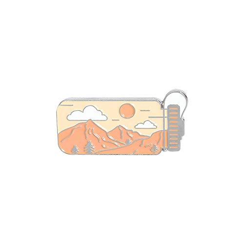 aqiong Jubaren7 Dibujo Simple de la Historieta del Paisaje Caldera joyería de la Forma de la Broche de la Personalidad Creativa del Paisaje del Pico de montaña, Sol, Nube Insignia Broche (Size