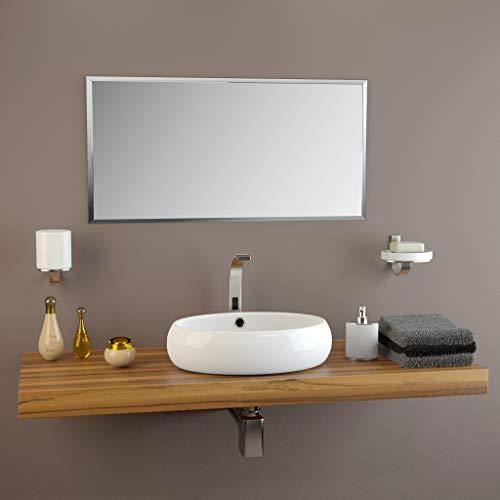 glasshop24 Badezimmer-Spiegel Wandspiegel Bad-Spiegel Silber   Spiegel ohne Rahmen, Spiegel zum Aufhängen   Mit Facette   BxH 70x90 cm