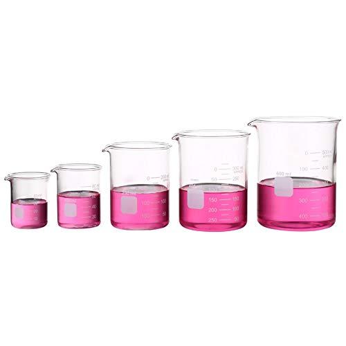 Vaso Graduado Medición Baja Set Vaso Graduado Graduado De Vidrio Glass Beaker 50ml 100ml 250ml 400ml 600ml