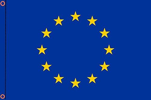 Durobol Bandera de Europa 150 x 90 cm Satén EUROPEA Flag 2 anillas metálicas fijadas en el dobladillo