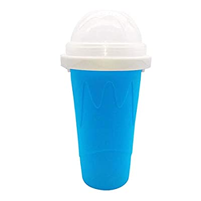 2021 DIY Homemade Smoothie Cups Freezes Drinks Cup Double Layer,DIY Slushie Maker Cup,Quick Frozen Smoothies Slushy Ice Cream Maker for Children (Blue)