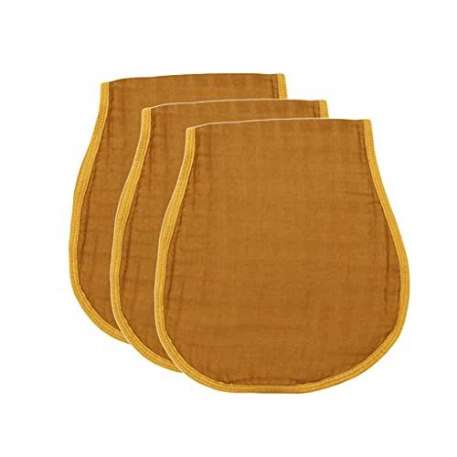Gergxi 3 Pcs Baby Muslin Burp Cloth Soft Comfortable Cotton Feeding Bibs Solid Color
