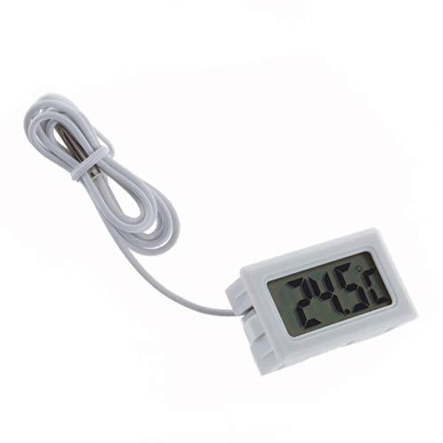 デジタル温度計 LCD温度計 水温計 温度センサー付き 内蔵水温センサー -50℃〜+110℃対応 部屋、車内、冷蔵庫、水族館、水槽の温度管理に 簡単便利 ホワイト