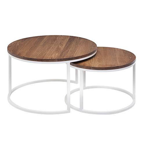Hochwertiger Couchtisch aus Eiche & Metall - Satztisch aus Massiv Holz im 2er Set | Wohnzimmertisch aus Echtholz | Moderner Massivholz Beistelltisch - rund & kompakt - 50 cm hoch (Dunkelbraun)