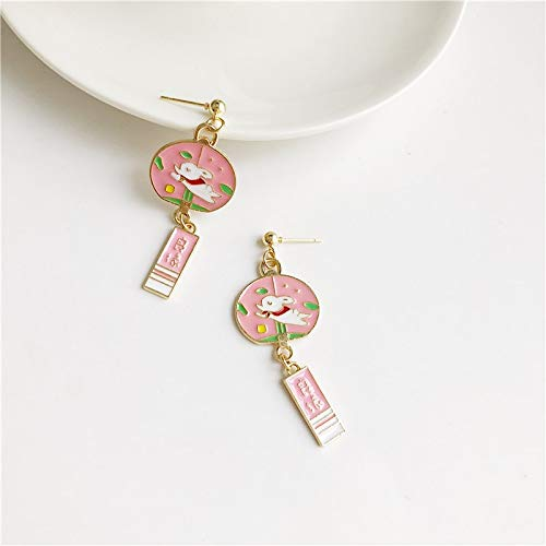 Arete Perla Stud Pendientes Lucky Wind Chime Corazón Dibujos Animados Cute Earrings Girl Badge Pendientes   Rosa