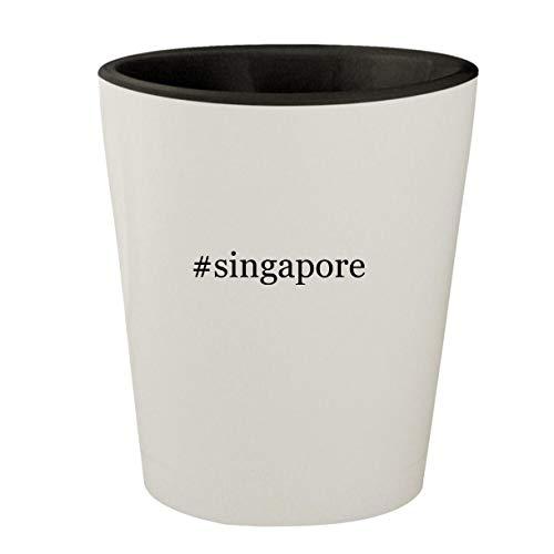 #singapore - White Outer & Black Inner Hashtag Ceramic 1.5oz Shot Glass