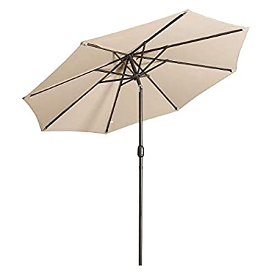 Aok Garden 9 ft Patio Umbrella Outdoor Table Umbrella with Push Button Tilt and Crank 8 Sturdy Ribs Fade Resistant for Patio Table, Market, Deck, Sand