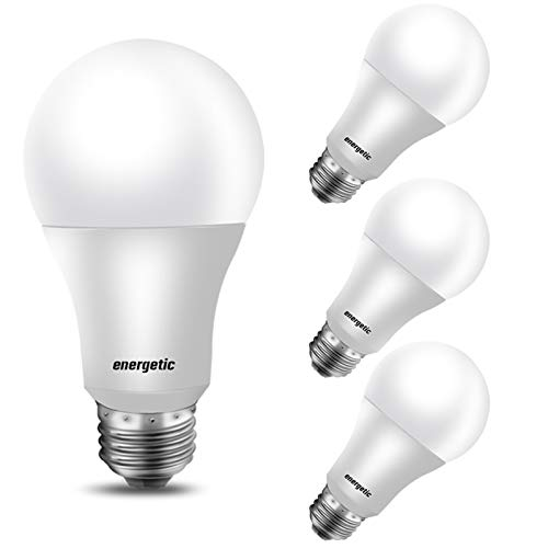 100W Equivalent, A19 LED Light Bulb, Daylight 5000K, E26 Base, Non-Dimmable, 1600 Lumens, UL Listed, 4-Pack