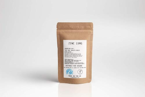 Zinc Tablets - 15 mg, 60 Vegetarian Supplements - Immune System Supplement