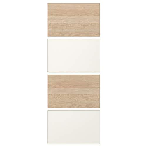 MEHAMN fyra paneler för skjutdörr 75 x 201 cm vitfärgad ek effekt/vit