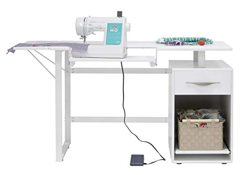 Sew Ready 13397, White Pro Line Craft, Sewing Table, Office Desk with Drawer, Sliding Shelf in Storage Cabinet