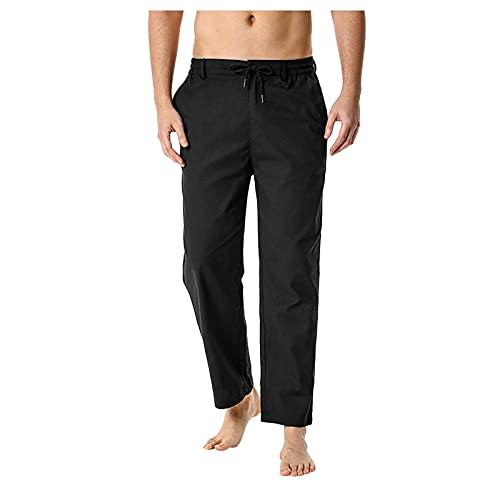 Pantalones de chándal para hombre, largos, sólidos, para el tiempo libre, elásticos, para senderismo, ajustados, tácticos, para correr, fitness, actividades al aire libre, Negro , L