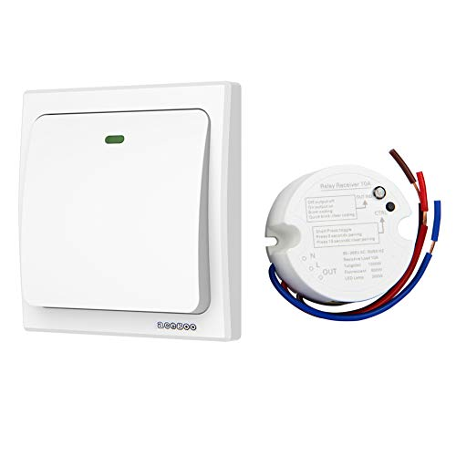 Acegoo Wireless Lights Switch Kit, No Wiring No Battery, Quick Create or Relocate On/Off Switches for Lights Lamps Fans Appliances, Self-powered Remote Control Switch for House Lighting, Avoid Chasing Wall for Cables ( Contains Switch and Receiver)