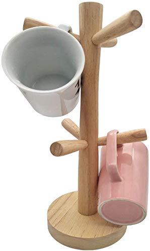 Soporte para árbol de tazas de madera con 6 ganchos soporte de exhibición para tazas organizador de tazas, secador ganchos para tazas de té y café(las tazas no están incluidas)