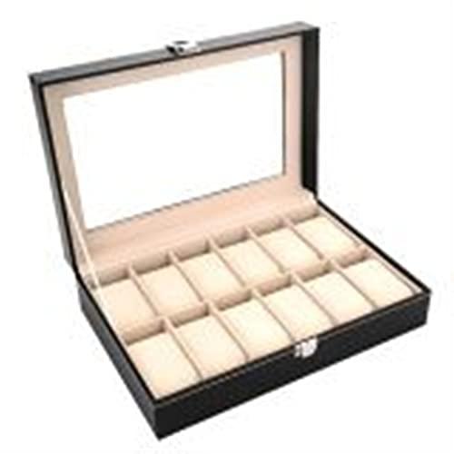Caja de Relojes para Organizadora y Exhibición, Elegante costura de contraste 12 Slots Watch Watch Box Mostrar caja de almacenamiento Organizador Titular para hombres Mujeres San Valentín Día de cumpl
