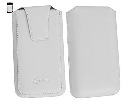 Emartbuy® Elephone Trunk Smartphone Sleek Range Weiß Luxury PU Leder Tasche Hülle Schutzhülle Case Cover ( Size 4XL ) Mit Ausziehhilfe