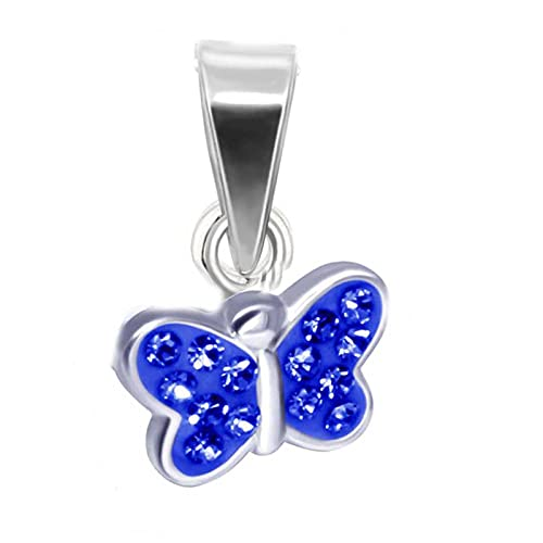 FIVE-D Pendientes infantiles de mariposa pequeña de plata de ley 925 en estuche de joyería (colgante azul)