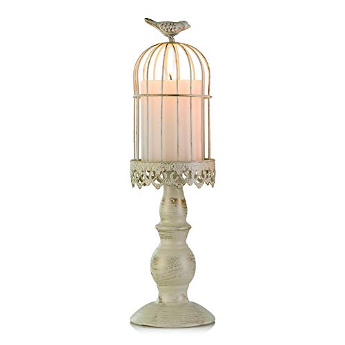 Sziqiqi Portacandele Vintage a Forma di Gabbia per Uccelli, portacandele Decorativo da Tavolo per Matrimonio, Decorazione di portacandele in Ferro battuto, L