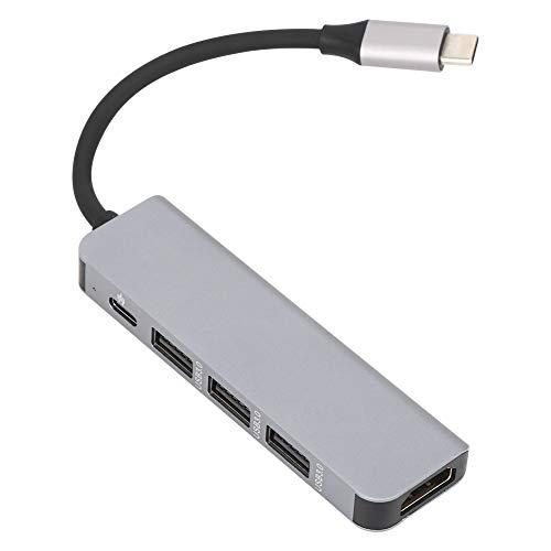 Jinyi Convertidor Tipo C, estación de Acoplamiento, Buena compatibilidad Rendimiento Estable Concentrador HDMI Multifuncional fácil de Usar, para teléfonos Inteligentes domésticos