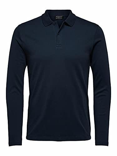 SELECTED HOMME Male Poloshirt Langärmeliges Bio-Baumwoll LDark Sapphire