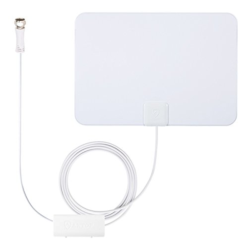 Outdoor TV Antenna, ANTOP HDTV Flat Panel Amplified HDTV Antenna Big BOY 80 Mile Multi-Directional Reception with 4G LTE Filter and Smartpass Amplified (40ft Coaxial Cable Include)