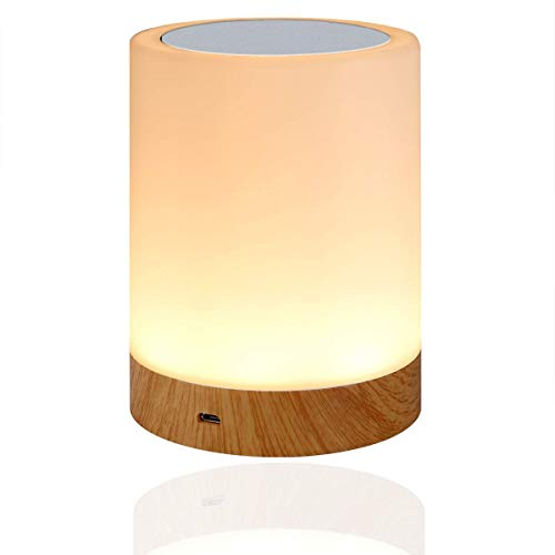 LED Nachttischlampe, Amouhom Dimmbar Atmosphäre Tischlampe für Schlafzimmer Wohnzimmer, 16 Farben Tragbare Nachtlicht mit 2800-3100K Warmes Weißes Licht und Farbwechsel Geschenke für Kinder/Erwachsene