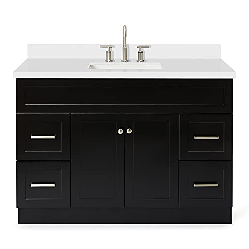 """ARIEL Vanity Cabinet in Black with Pure White Quartz Counter-top 