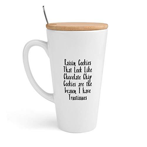 Keramische koffiemok, rozijnen koekjes die eruit zien als chocolade chip koekjes zijn de Baason Ik heb Trustissues, thee Cup met deksel & lepel voor kantoor en thuis, 18 oz