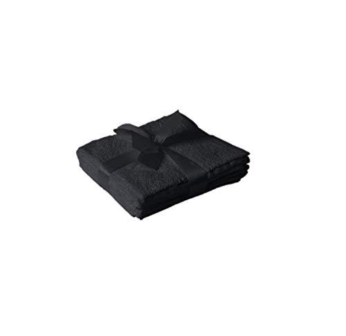 EXKLUSIV HEIMTEXTIL - Juego de 4 toallas de mano (30 x 30 cm), color negro
