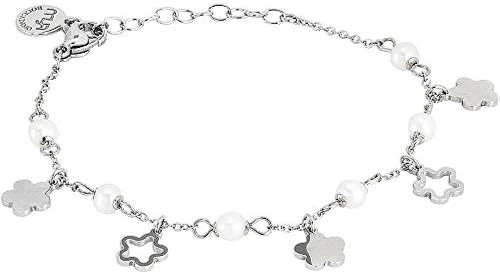 Boccadamo, bracciale con pendenti a forma di fiore alternati a perle naturali coltivate, per donna ,in acciaio Mk/Br04